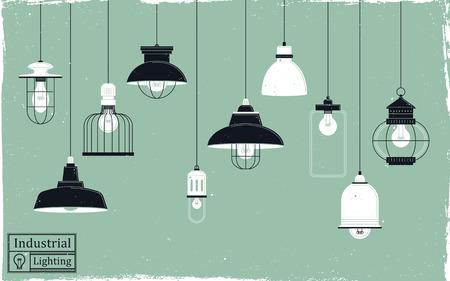 Illustrazione per elegant retro ceiling lamps collection in flat design - Immagini Royalty Free
