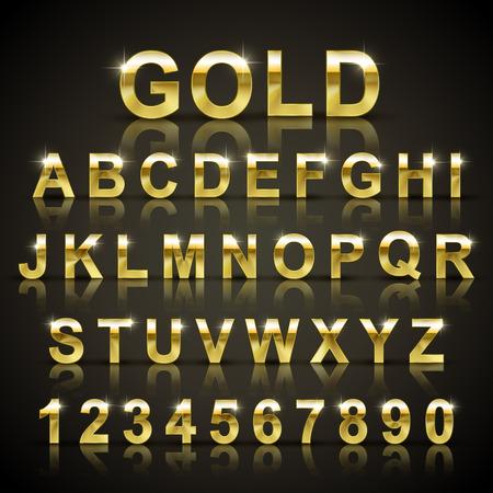 Illustration pour glossy golden font design set over black background - image libre de droit