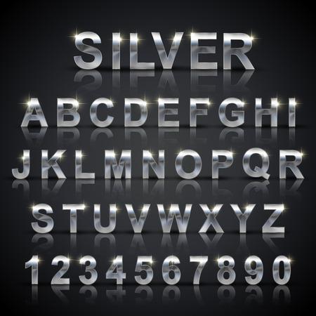 Ilustración de glossy silver font design set over black background - Imagen libre de derechos