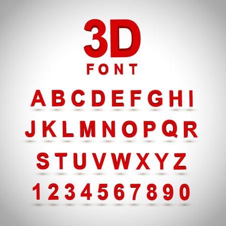 Illustration pour 3D red font design set over grey background - image libre de droit