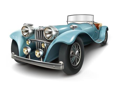 Ilustración de attractive retro blue car isolated on white background - Imagen libre de derechos