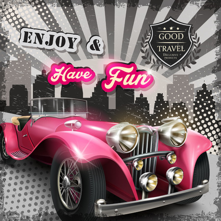 Photo for vintage advertising poster with attractive pink retro car - Royalty Free Image