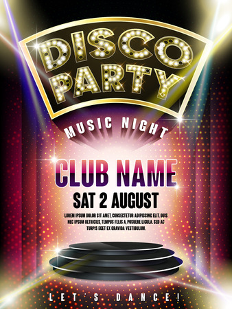 Illustration for gorgeous disco party poster with illuminated stage and laser light on the background - Royalty Free Image