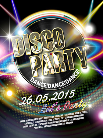 Ilustración de gorgeous disco party poster with retro vinyl record and laser light on the background - Imagen libre de derechos