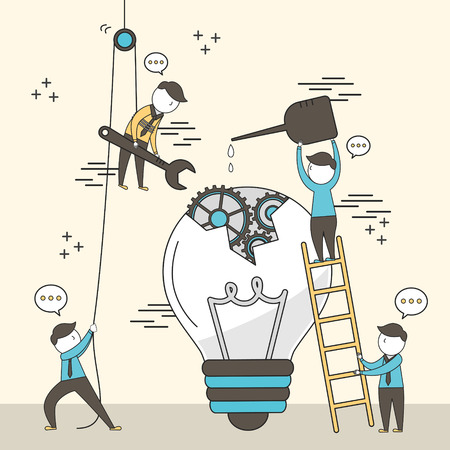 Illustrazione per concept of teamwork: businessmen fixing a broken bulb together in line style - Immagini Royalty Free