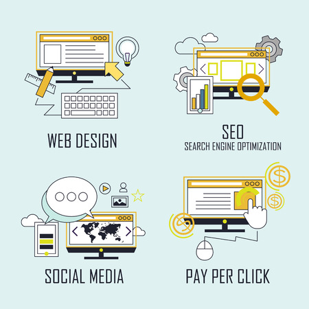 Illustration pour branding concept: web design-SEO-social media- pay per click in line style - image libre de droit