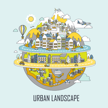Illustration pour urban landscape concept: attractive city in line style - image libre de droit