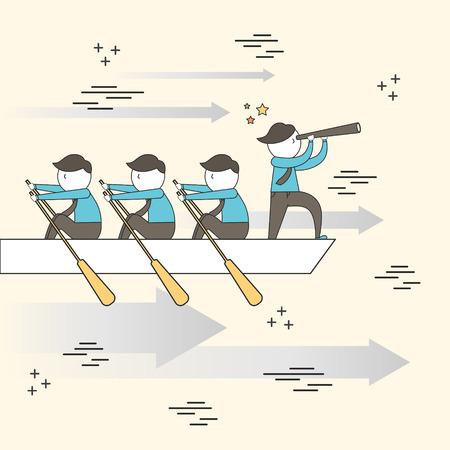 Ilustración de teamwork concept: businessmen rowing a boat in line style - Imagen libre de derechos