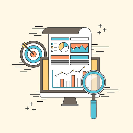 Illustration pour data analytic concept: magnifying glass with business chart in line style - image libre de droit