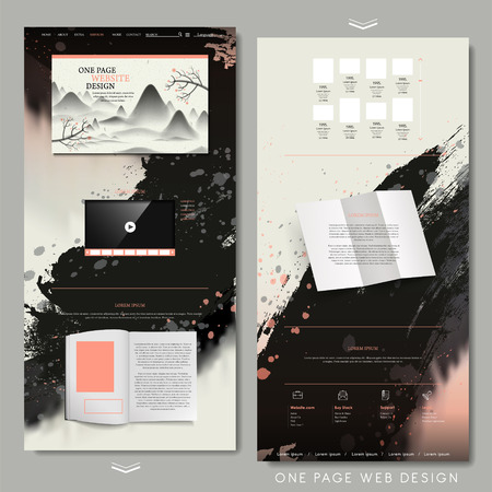 Illustration pour retro one page website design template in chinese calligraphy style - image libre de droit