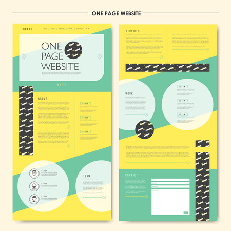 Illustration pour attractive geometric one page website design template in flat style - image libre de droit