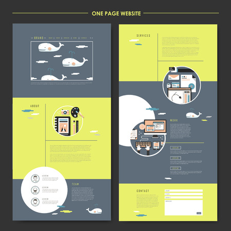 Illustration pour lovely one page website design template in flat style with whales - image libre de droit