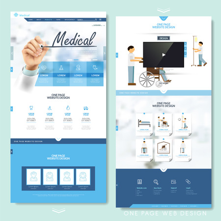 Illustration pour medical one page website design template in blue and white - image libre de droit
