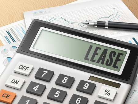 Illustration pour calculator with the word lease on the display - image libre de droit