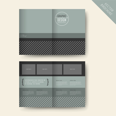 Ilustración de contemporary half-fold template design with grey geometric elements - Imagen libre de derechos