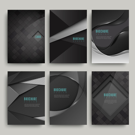 Illustration pour modern black brochure set isolated on grey - image libre de droit