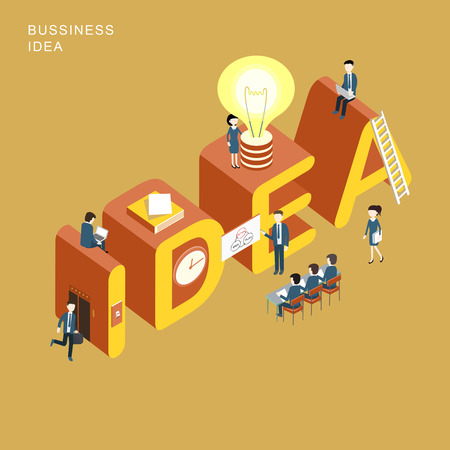 Illustration pour flat 3d isometric design of business idea concept - image libre de droit