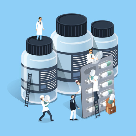 Illustration pour flat 3d isometric design of medicine management concept - image libre de droit