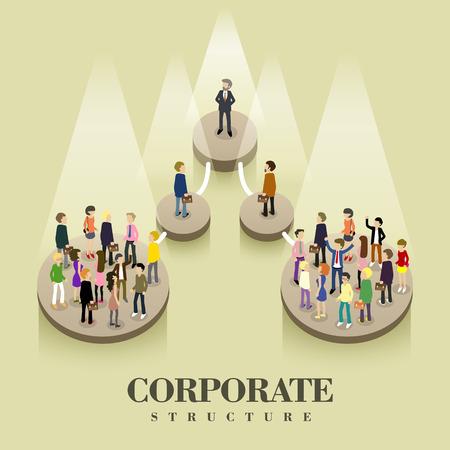 Illustration pour flat 3d isometric design of corporate structure concept - image libre de droit