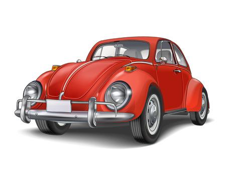Ilustración de veteran classic small red car isolated on white background - Imagen libre de derechos
