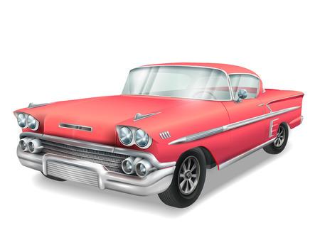 Ilustración de veteran classic red car isolated on white background - Imagen libre de derechos