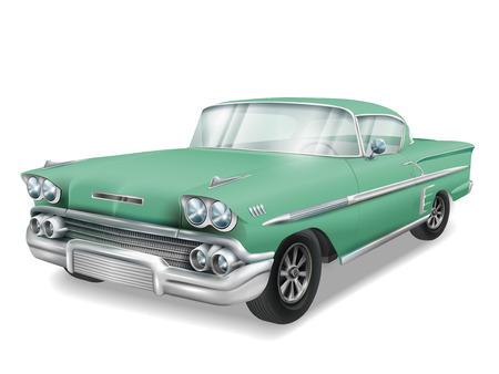 Ilustración de veteran classic green car isolated on white background - Imagen libre de derechos