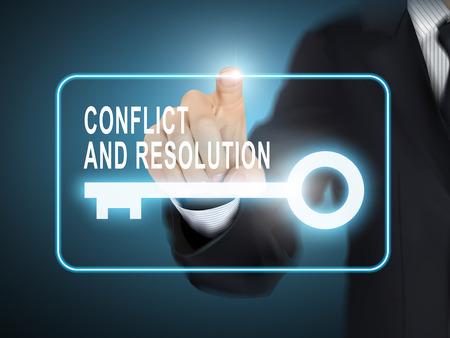 Ilustración de male hand pressing conflict and resolution key button over blue abstract background - Imagen libre de derechos