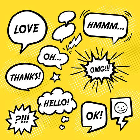 Illustration pour simplicity comic speech bubbles set over yellow background - image libre de droit