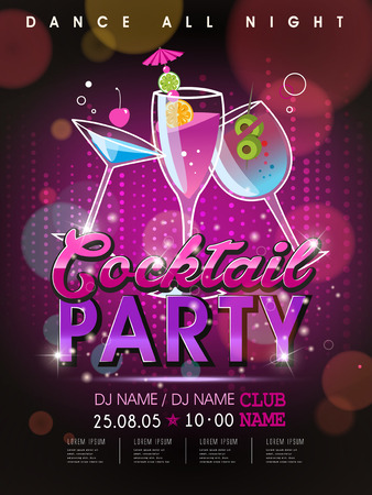 Illustration for fantastic cocktail party poster design with abstract background - Royalty Free Image