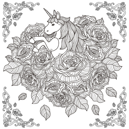 Illustration for black and white pattern for coloring book for adults with adorable unicorn and roses background - Royalty Free Image