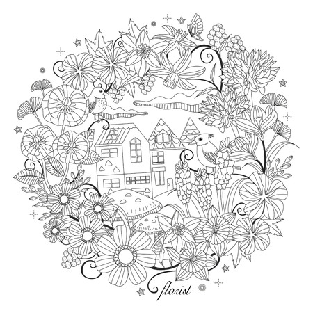 Illustration for black and white pattern for coloring book for adults with fantastic garden scenery - Royalty Free Image