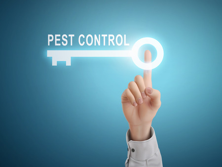 Illustration pour male hand pressing pest control key button over blue abstract background - image libre de droit