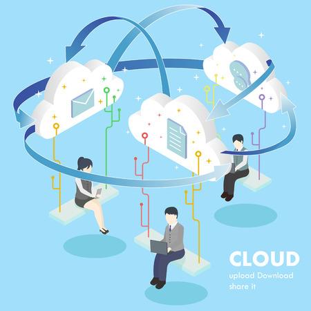 Illustration pour flat 3d isometric design of cloud computing concept - image libre de droit