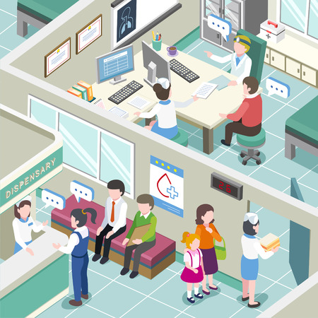 Illustration pour flat 3d isometric design of medical clinic interior - image libre de droit