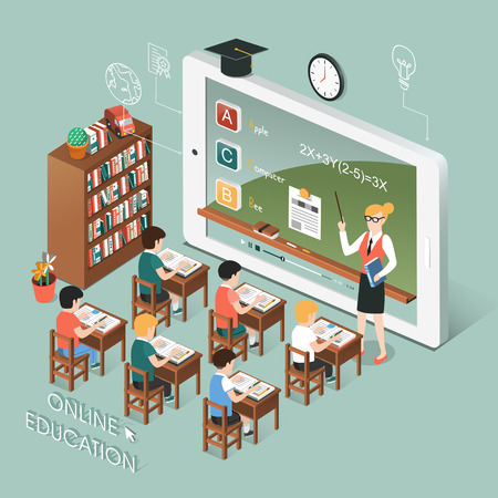 Illustration pour flat 3d isometric design of online education with tablet - image libre de droit