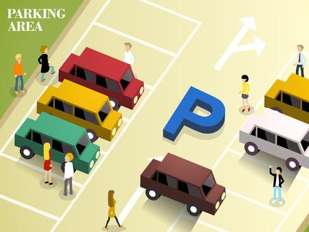 Illustration pour flat 3d isometric design of parking area - image libre de droit