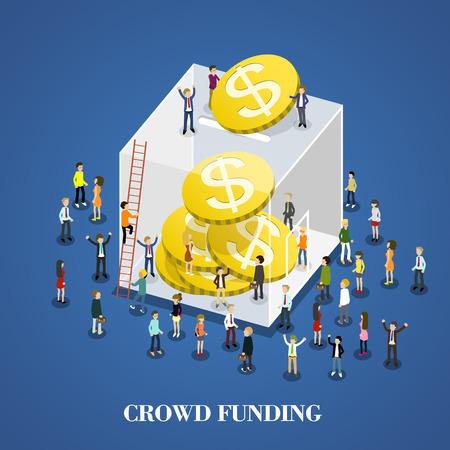 Ilustración de flat 3d isometric design of crowd funding - Imagen libre de derechos