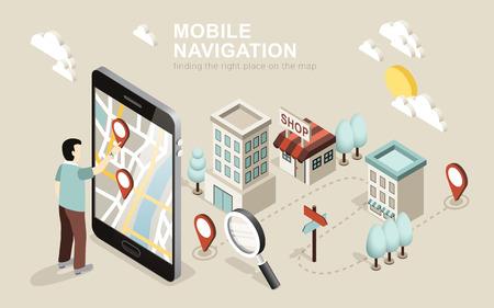 Ilustración de flat 3d isometric design of mobile navigation - Imagen libre de derechos