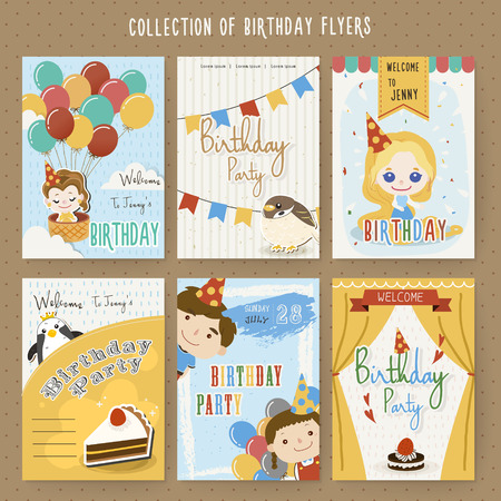 Illustration for adorable cartoon birthday party invitation template collection - Royalty Free Image