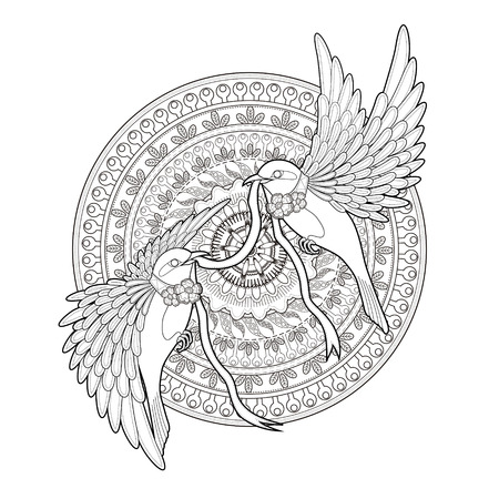 Illustration pour elegant bird coloring page in exquisite style - image libre de droit