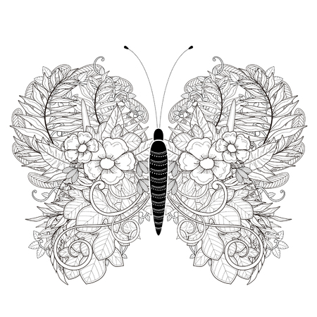 Illustration for elegant butterfly coloring page in exquisite style - Royalty Free Image