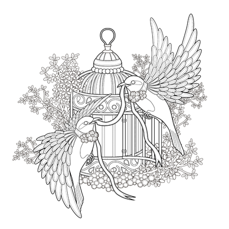 Illustration for elegant bird coloring page in exquisite style - Royalty Free Image