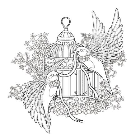 Ilustración de elegant bird coloring page in exquisite style - Imagen libre de derechos