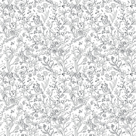 Illustration for graceful seamless floral pattern coloring page in exquisite style - Royalty Free Image