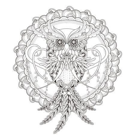 Illustration for gorgeous owl coloring page in exquisite style - Royalty Free Image