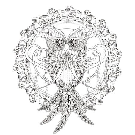 Photo pour gorgeous owl coloring page in exquisite style - image libre de droit