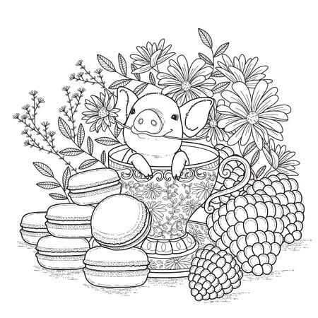 Photo pour adorable piggy coloring page in exquisite style - image libre de droit