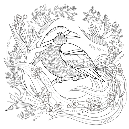 Illustration for graceful bird coloring page in exquisite style - Royalty Free Image