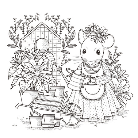 Illustration for adorable mouse coloring page in exquisite style - Royalty Free Image