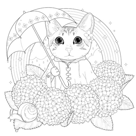 Illustration for adorable kitty coloring page in exquisite style - Royalty Free Image